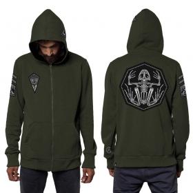 """Pochta"" zipped patch hoodie, Mottled khaki green"