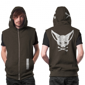 """Twizy"" zipped sleeveless hoodie, Mottled greenish grey"
