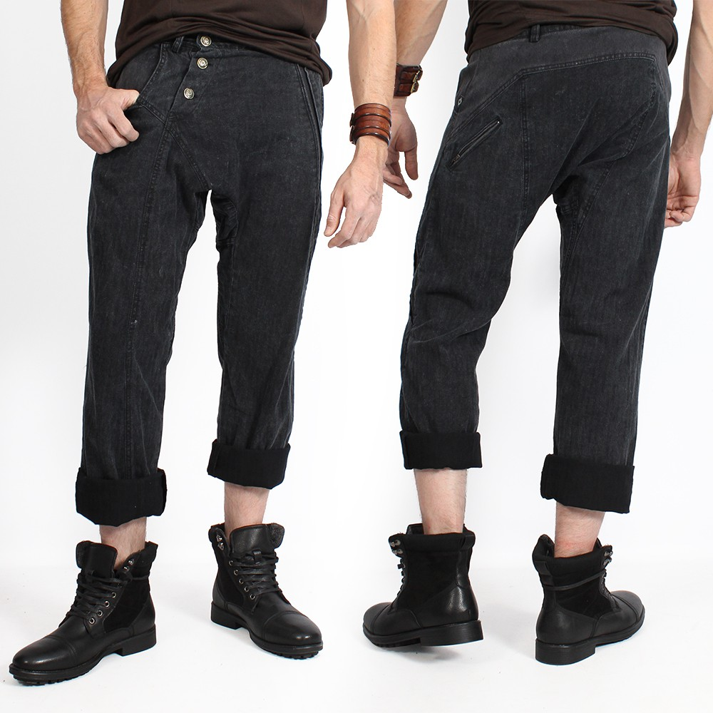 """Core Herringbone"" pants, Sandwashed black"