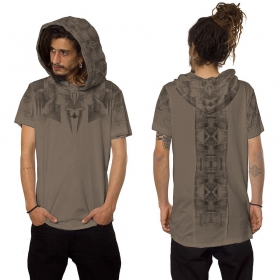 """Geomeister"" hooded t-shirt, Dark beige"