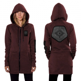"""Infinity"" zipped long hoodie, Wine"
