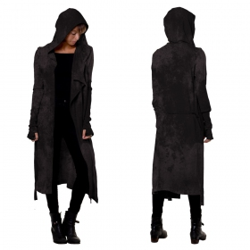 """OutLaw"" asymetric long cardigan, Black rust wash"