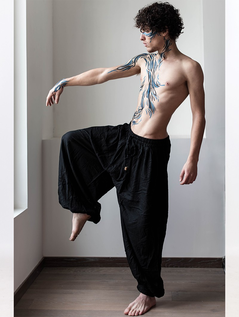 """Satyam"" Gender neutral harem pants, Black"