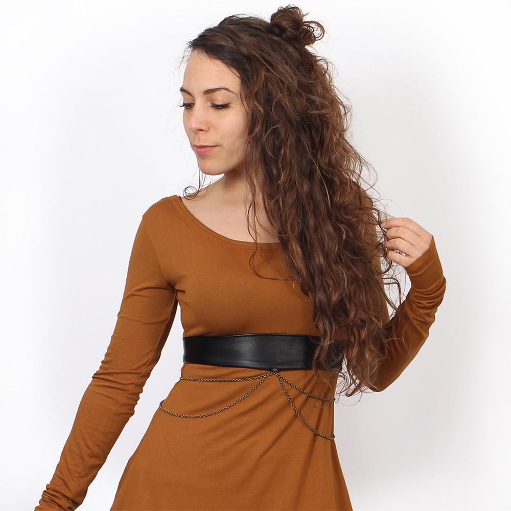 """Moöna"" belt, Black faux leather"