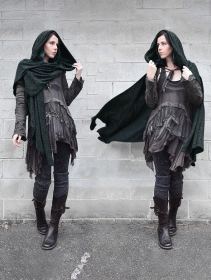"""Danae"" hooded cape, Teal blue"