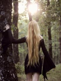 """MoonSpell"" flared long sleeve dress, Black"