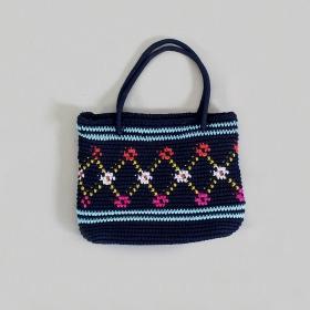 """Mekhala"" bag, Dark blue braided cotton with colors"