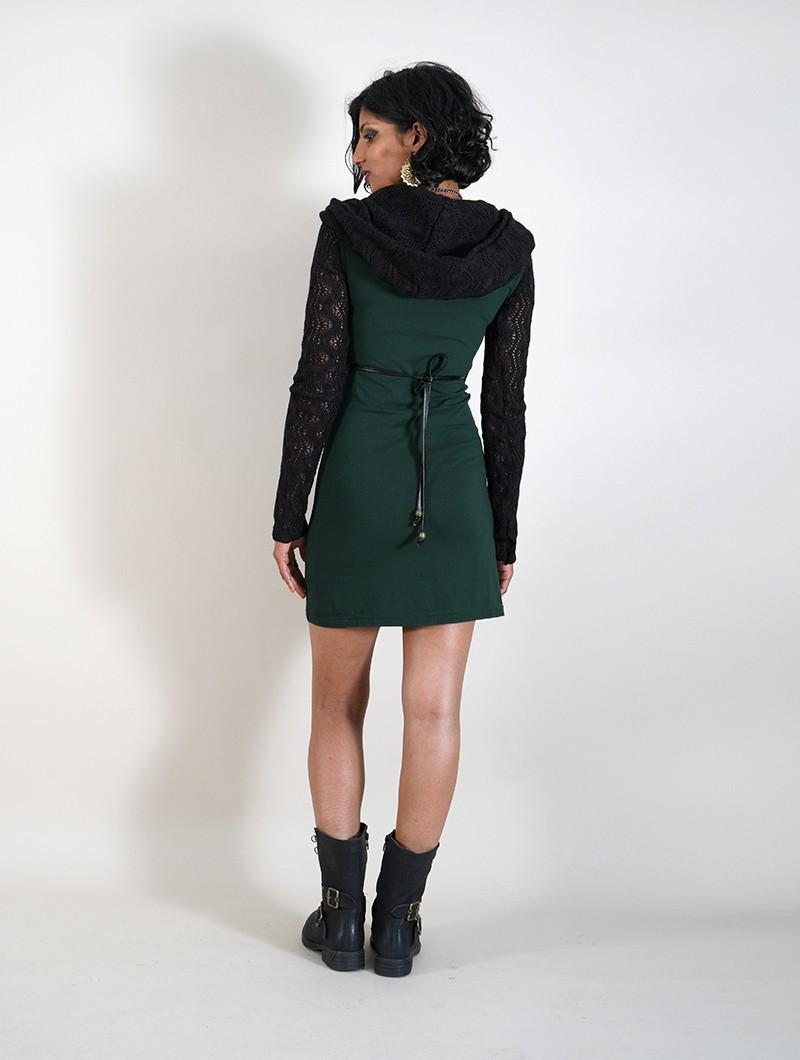 """Atmäa"" crochet long sleeved dress, Peacock teal and black"