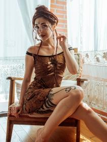 """""""Electra Africa"""" dress, Golden brown"""