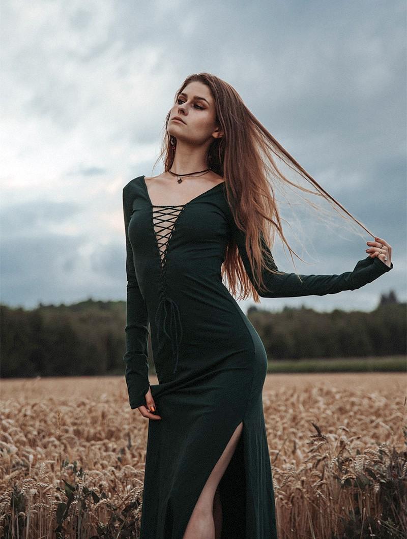 """Valkyrie"" long dress, Peacock teal"