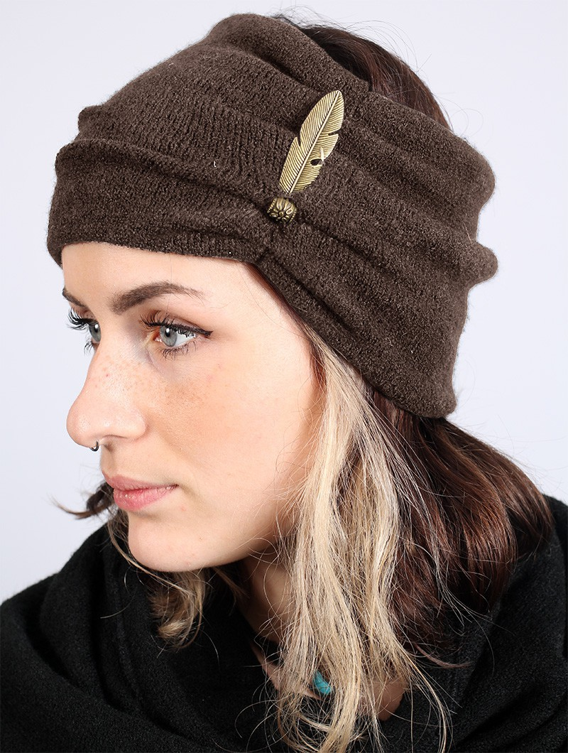 """Aikköoz"" feathered headband, Brown"