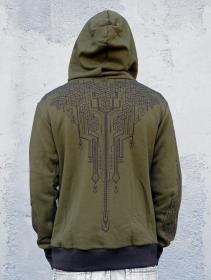 """Aegnor Circuit"" zipped hoodie, Army green"