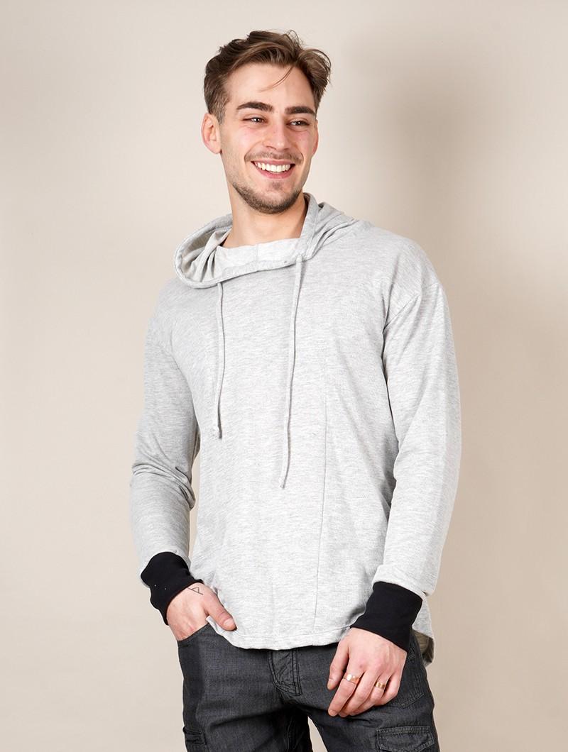 """""""Aldaron"""" hooded long sleeve shirt, Light mottled grey"""