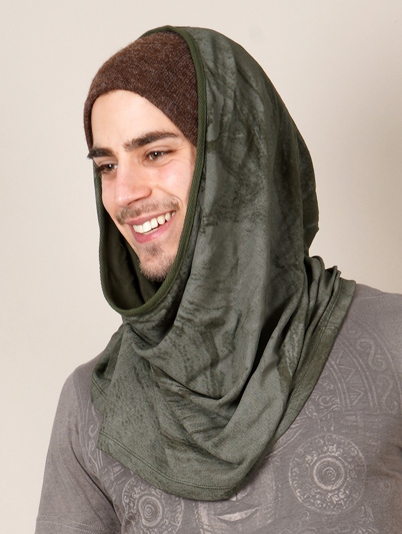"""""""Marble"""" hooded neck warmer, Army green"""