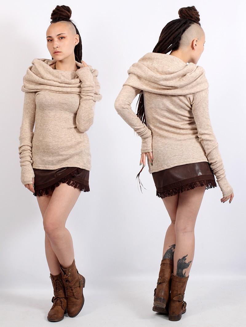 """""""Mantra"""" big collar sweater, Beige"""