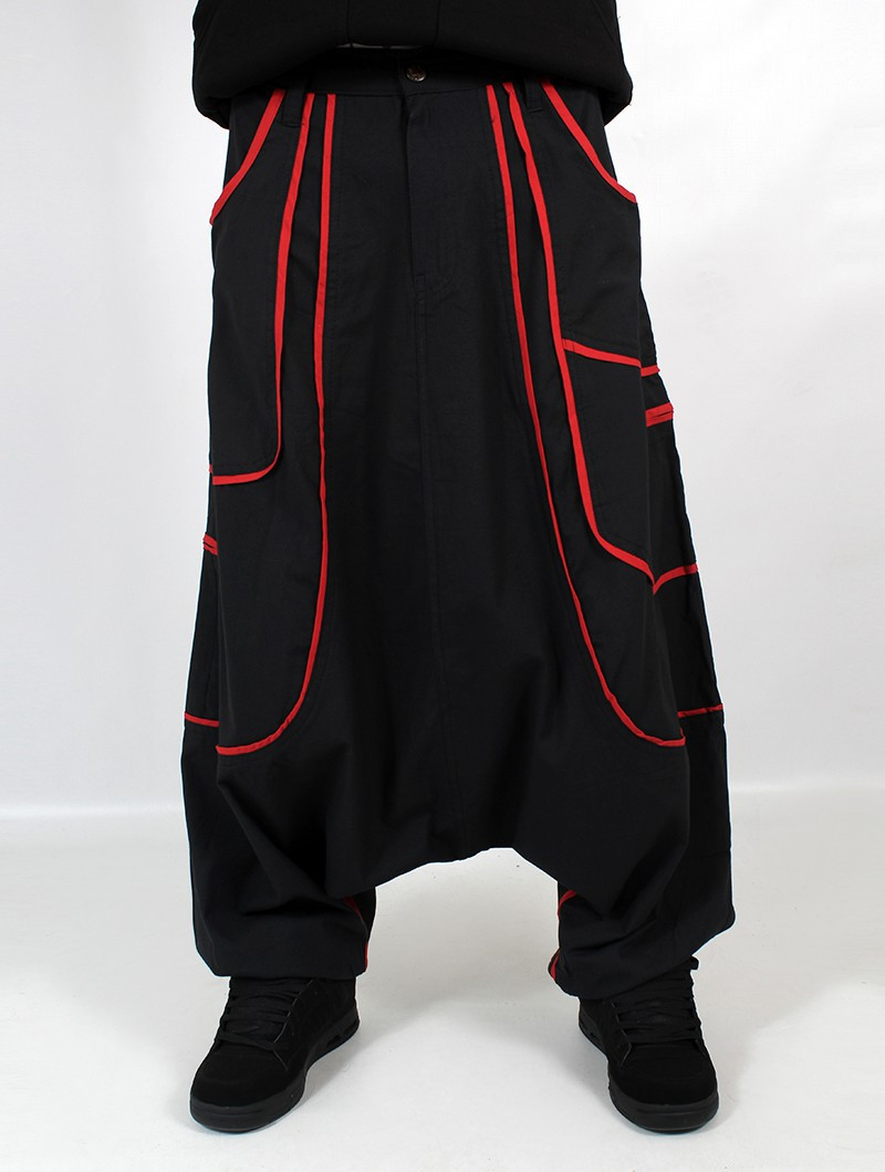 """Lines"" Gender neutral harem pants, Black with red lines"