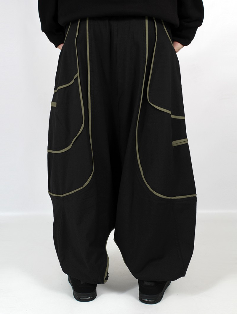 """""""Lines"""" Gender neutral saroural, Black and Army green lines"""