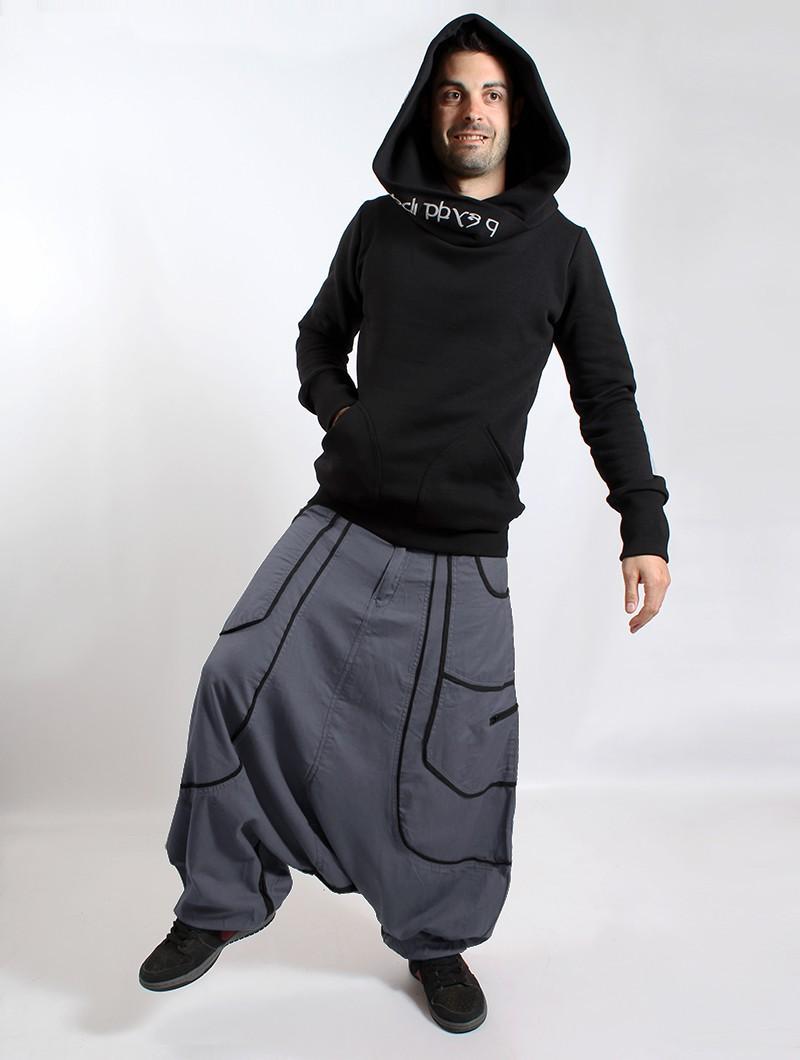 """""""Lines"""" Gender neutral harem pants, Grey with black lines"""