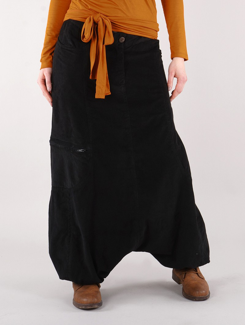 """Bazix"" gender neutral corduroy harem pants, Black"