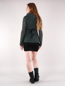 """Nouchka"" crochet pullover, Bluish grey and black lining"