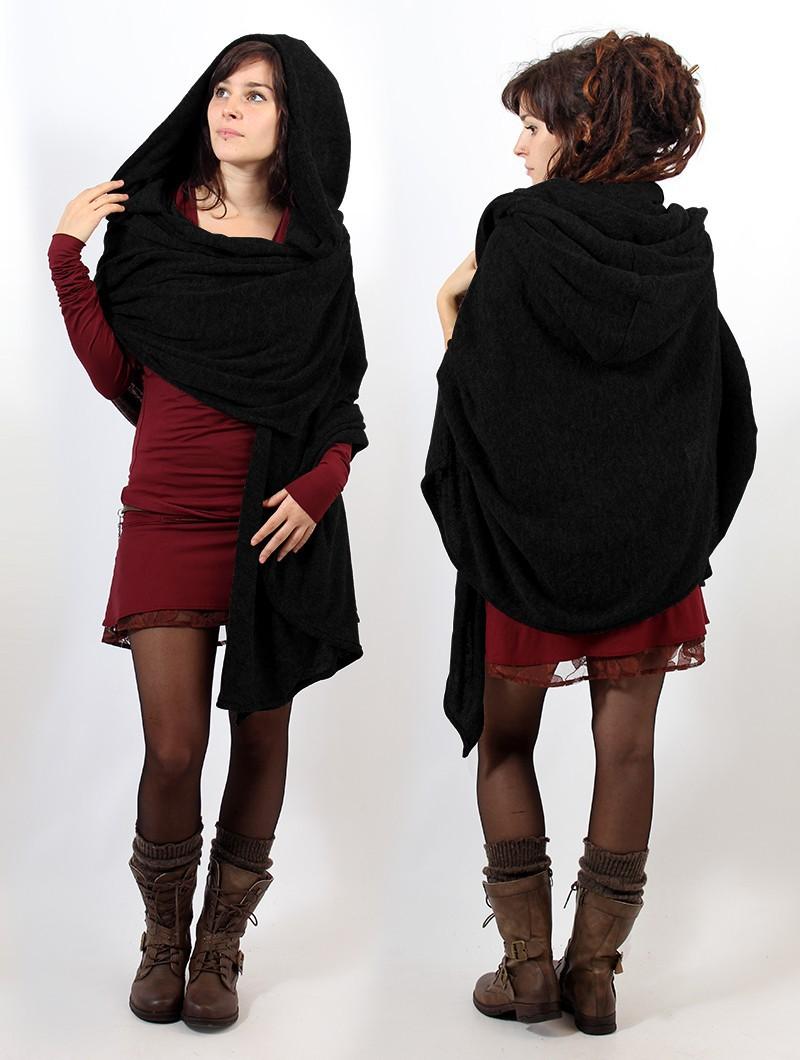"""""""Danae"""" hooded cape, Black"""