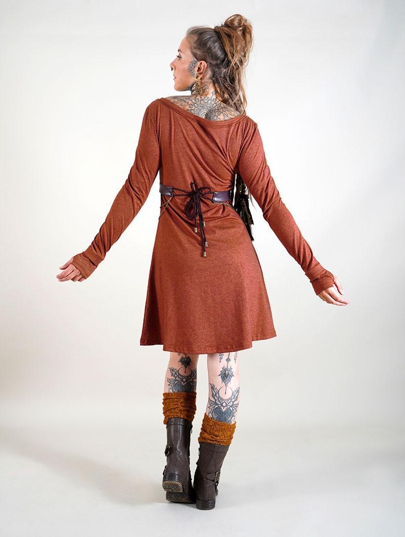 """""""Ysïaa"""" long sleeve dress, Mottled sienna"""