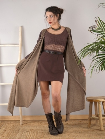 """Aeriz"" faux leather knitted shawl, Beige and brown"