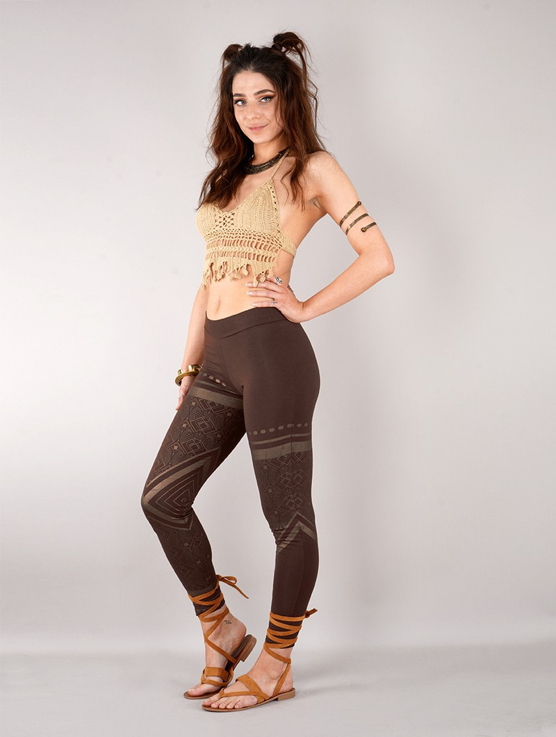 """Rinji Floral Circuit"" long leggings, Brown with copper prints"