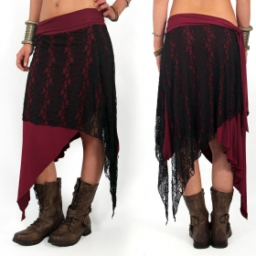 """Syrada"" 2in1 Skirt/Tunic, Dark wine Black lace"