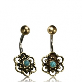 \'\'Phool Turquoise\'\' belly piercing
