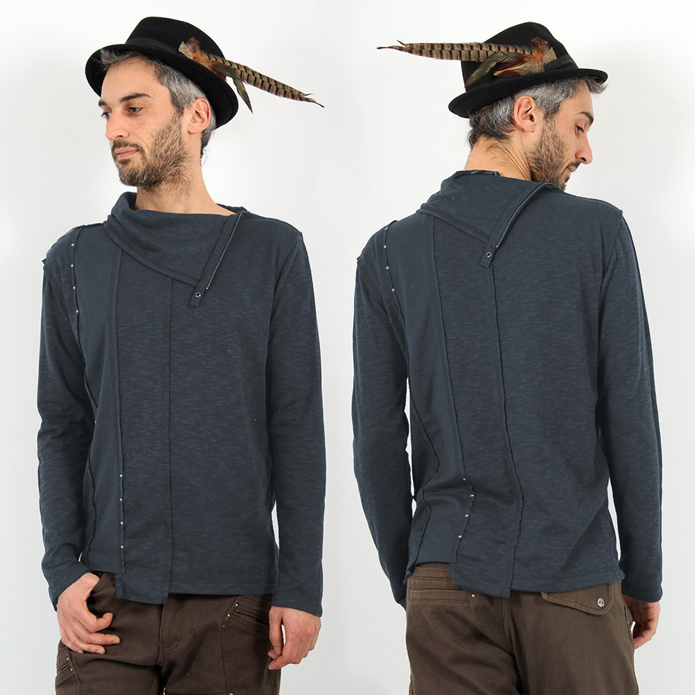 \'\'Tilted Remix\'\' Psylo Jumper, Slate blue