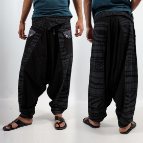 \'\'Tribal Remix\'\' harem pants, Black