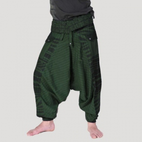 \\\'\\\'Tribal Remix\\\'\\\' harem pants, Forest