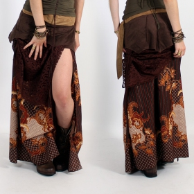 \'\'Utopia\'\' skirt, Brown with patterns