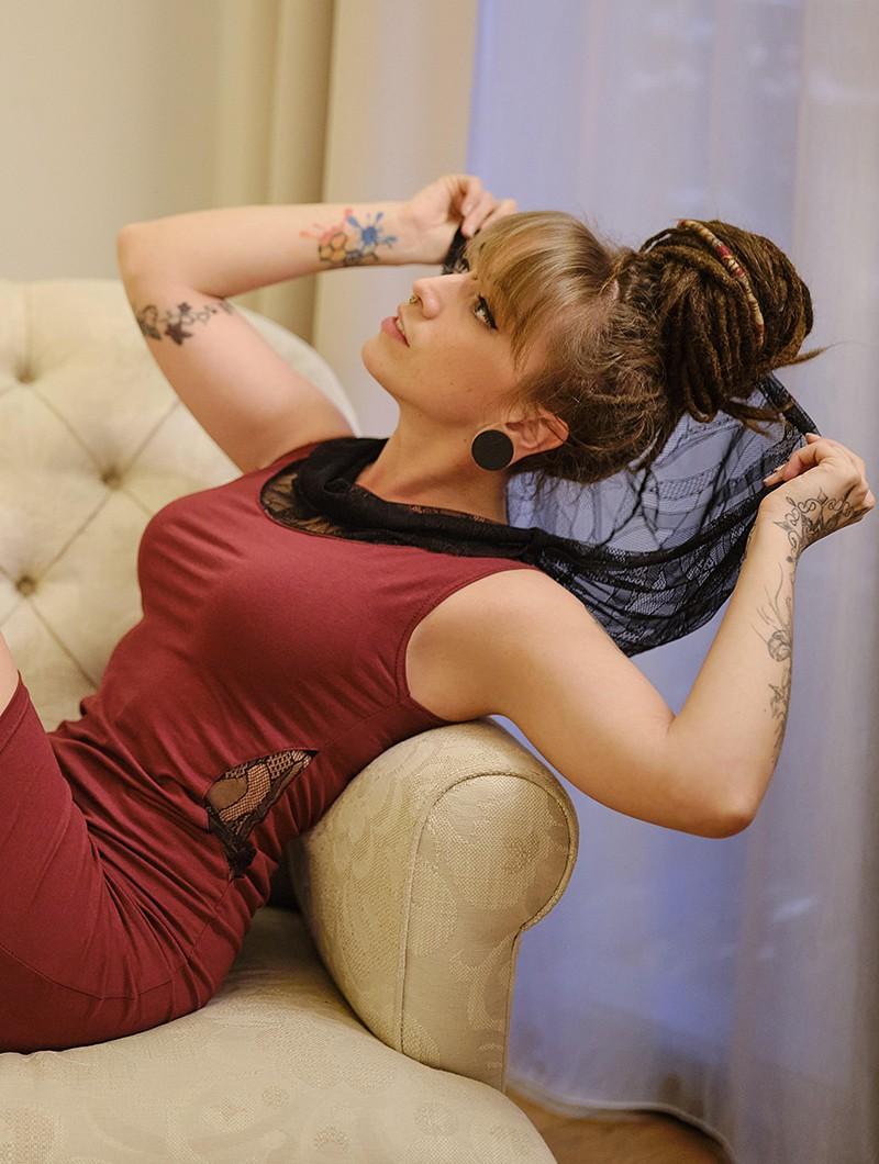 "\""Abbyss\"" sleeveless dress, Wine"