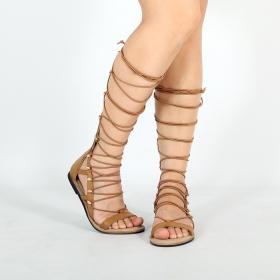 "\""Adhrâ\"" sandals, Camel"