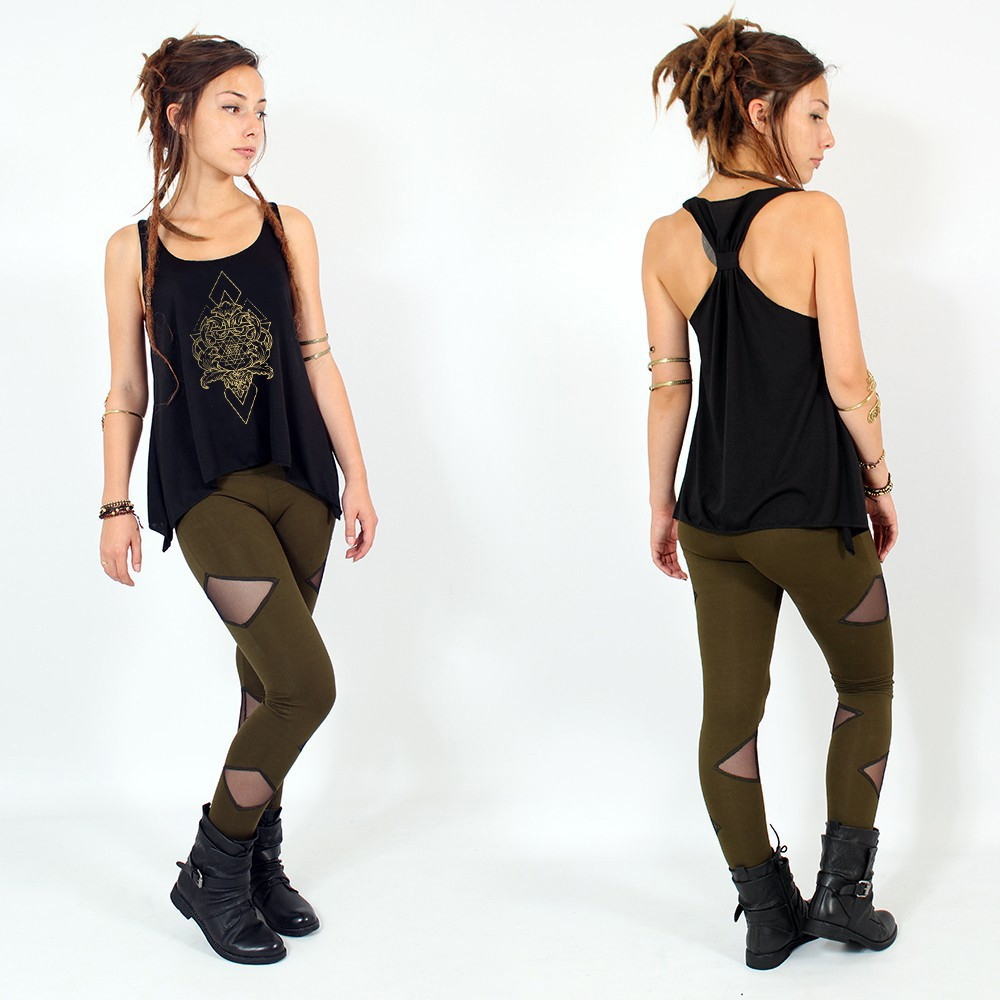 """Adhyatmika\"" knotted tank top, Black and gold"