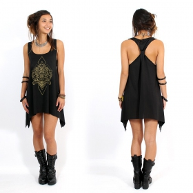 """Adhyatmika\"" knotted tunic, Black and gold"