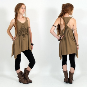 """Adhyatmika\"" knotted tunic, Brown and black"