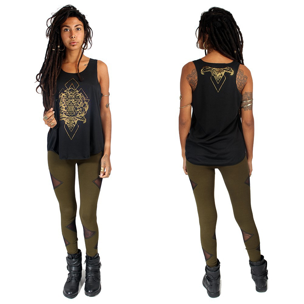 """Adhyatmika\"" tank top, Black and gold"