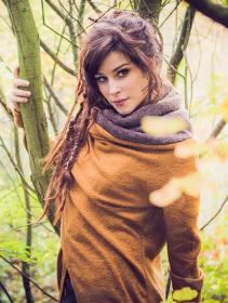 "\""Adrika\"" cardigan, Rusty and brown"