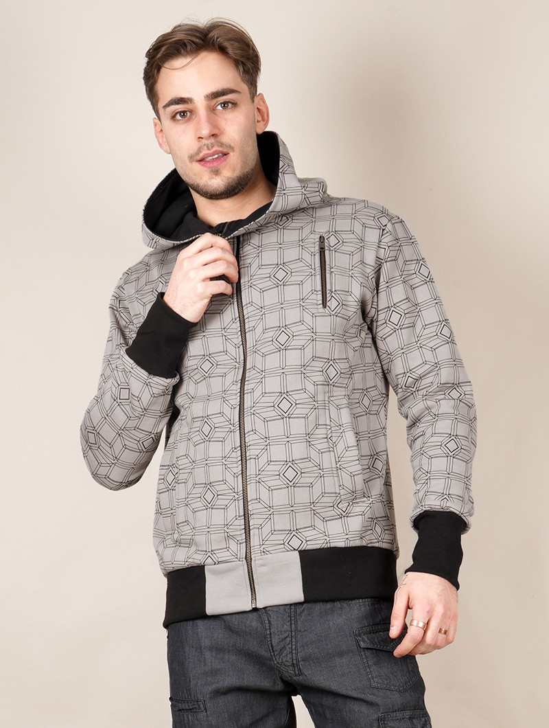 """Aegnor Cubes\"" zipped hoodie, Taupe"