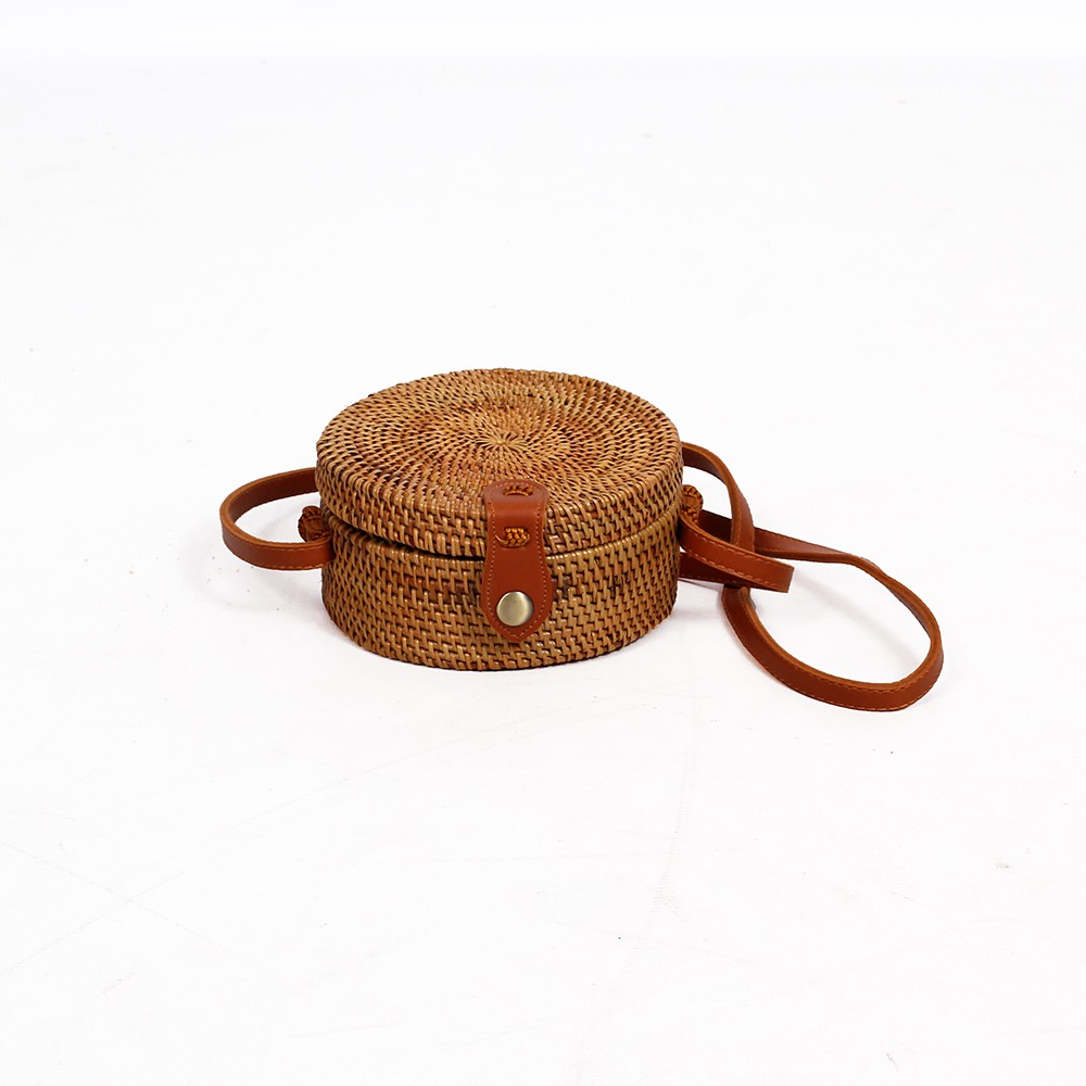 """Aelan\"" rattan small purse, Camel leather"