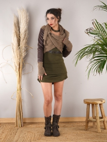 """Aeriz\"" faux leather knitted shawl, Beige and brown"