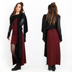 black shawl jacket with sleeves in imitation leather yggdrazil aeriz, knitted vest with faux leather sleeves, asymmetrical sweater short at the back with two large and long panels that you can fold up into a scarf, integrated mittens thumb holes, perfect with a long dress