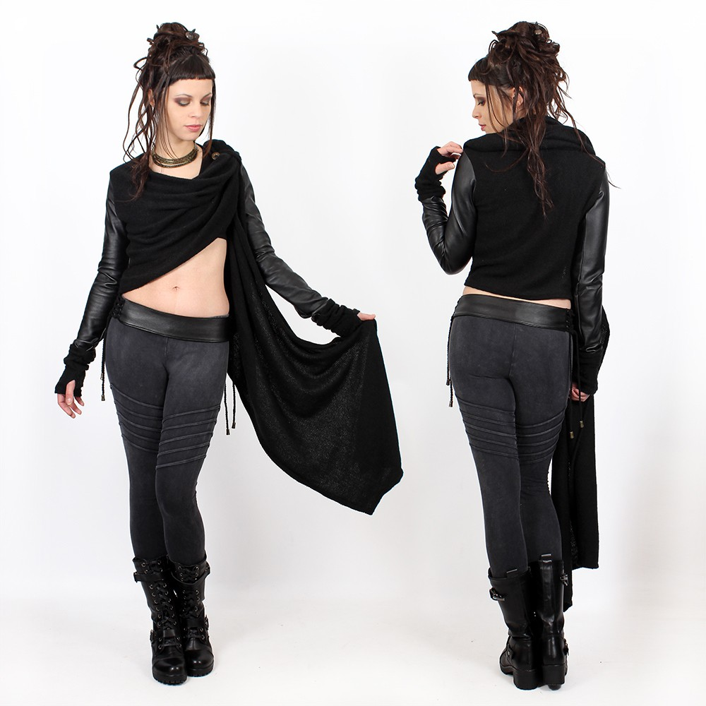"""Aeriz\"" faux leather sleeved shawl, Black"