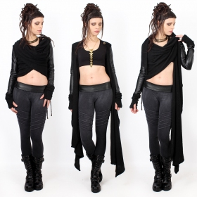 black shawl jacket with sleeves in imitation leather yggdrazil aeriz, knitted vest with faux leather sleeves, asymmetrical sweater short at the back with two large and long panels that you can fold up into a scarf, integrated mittens thumb holes