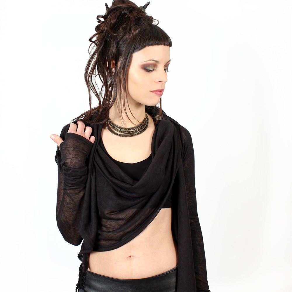 """Aeriz\"" semi transparent shawl, Black"