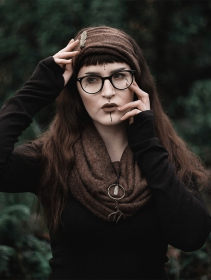 """Aikköoz\"" feathered headband, Brown"