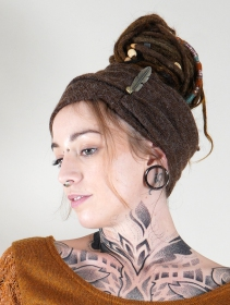 """Aikköoz\"" feathered turban, Brown"